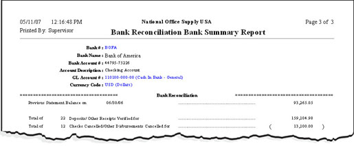 AccountMate Sample Reports – Bank Reconcilation Format