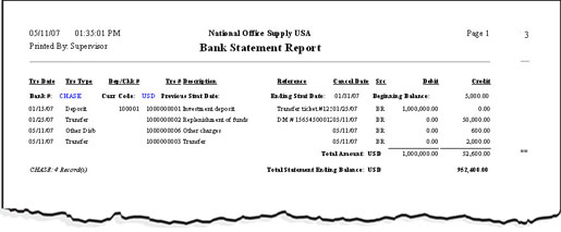 types of reports in banking