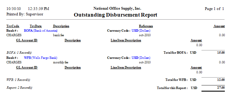 Outstanding Disbursement Report