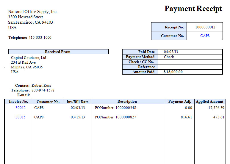 AccountMate Business Management and Accounting Software – Receipt of Payment Form