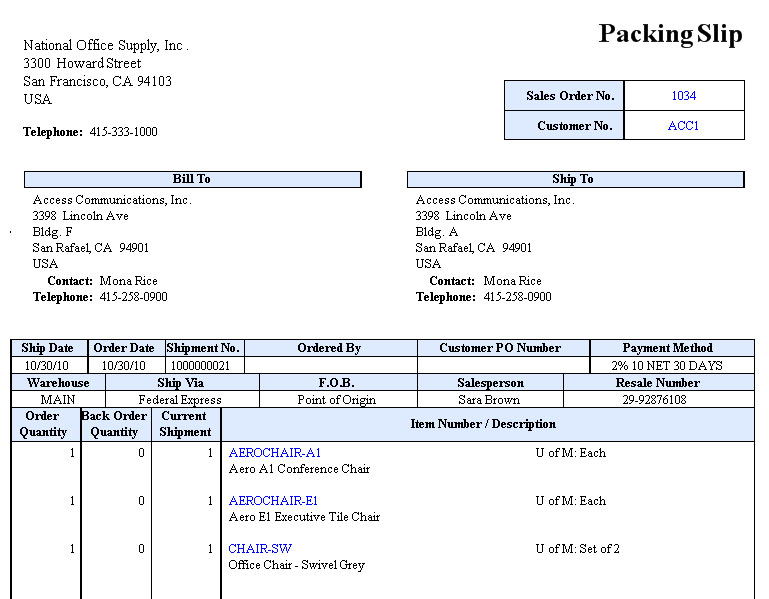 You Can Print A Packing Slip On A Pre Printed Form Or On An Ordinary Paper.  You Can Configure These Settings In The SO Module Setup  U003e Printing Tab.  Packing Slip Form