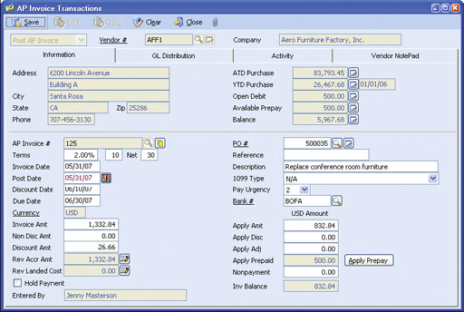 AccountMate For SQL And Express AP - Invoice control software