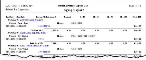 account receivable aging report sample